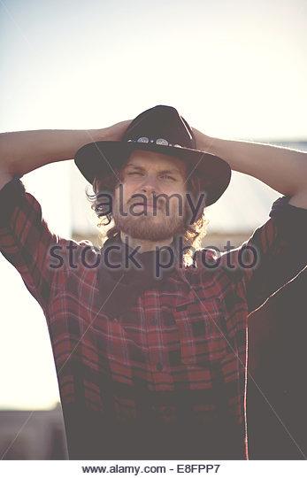 Porträt des modernen Cowboys Stockbild