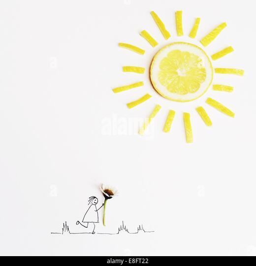 Abbildung eines Mädchens, die eine Daisy Blume Stockbild