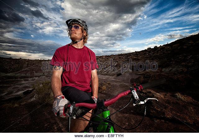 Porträt von einem Mountain-Biker, Colorado, America, USA Stockbild