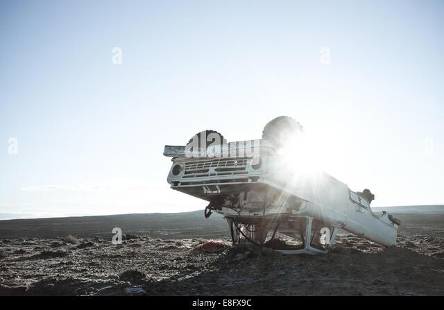 USA, Wyoming, Blick auf verlassenen LKW Stockbild