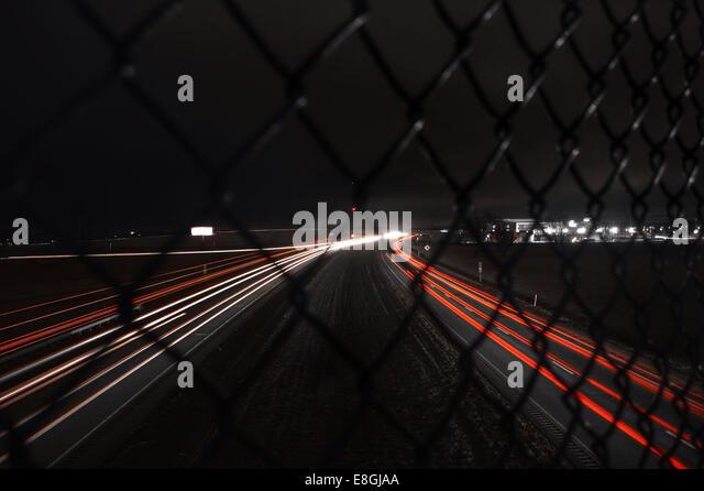 USA, Indiana, Licht in der Nacht Routen Stockbild