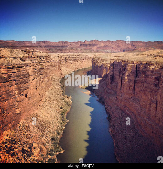 Blick auf Colorado River vom Navajo Bridge, Arizona, America, USA Stockbild