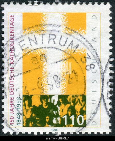 Briefmarke gedruckt in Deutschland, gewidmet den 150. Jahrestag der Kongress der deutschen Katholiken Stockbild
