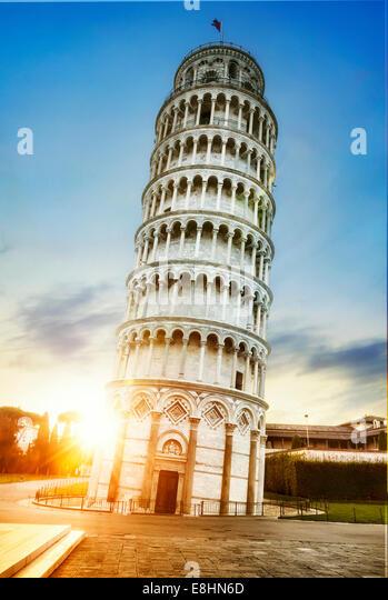 Pisa, Ort der Wunder: der schiefe Turm und dem Dom Baptisterium, Toskana, Italien Stockbild