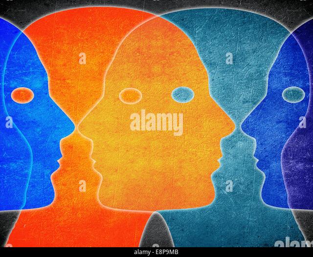 vier Köpfe Farben digitale illustration Stockbild