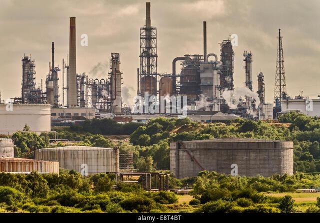 Fawley Oil Raffinerie Southampton UK Stockbild