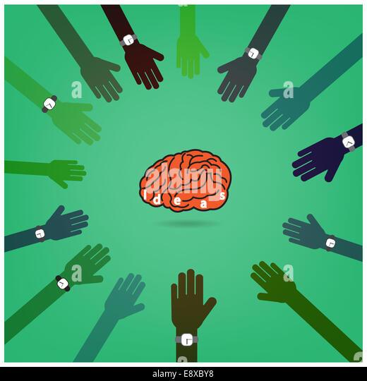 Kreative Gehirnhälfte Idee Konzept mit Geschäftsmann Hände im Hintergrund, brainstorming, Konzept, Stockbild