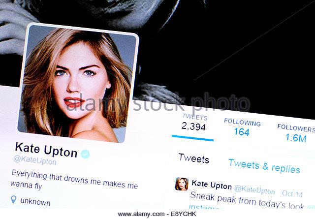 Computer-Screenshot - Kate Upton Twitter-account Stockbild