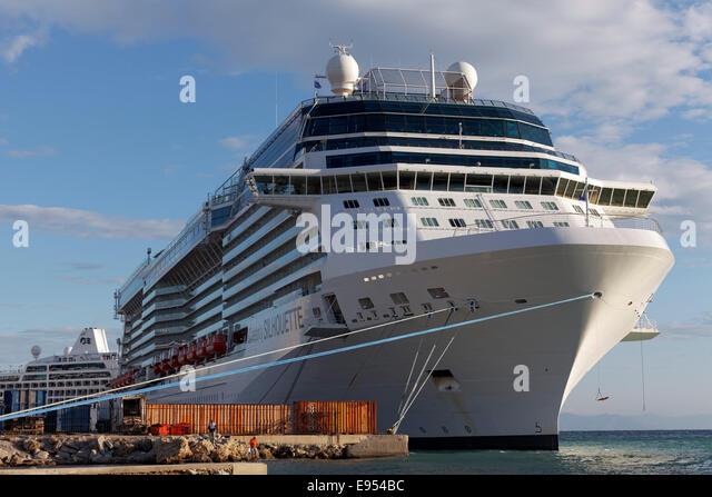 """Kreuzfahrtschiff """"Celebrity Silhouette"""" im Besitz von Celebrity Cruises, auf dem Pier, Rhodes, Rhodes Stockbild"""