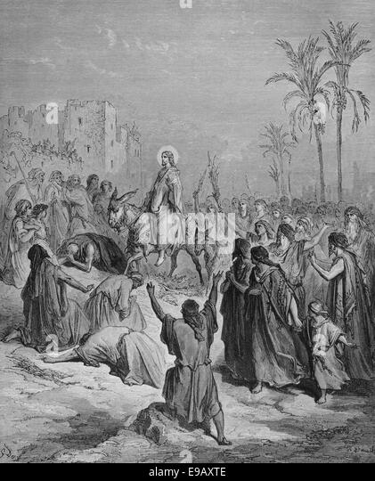 Illustrierte Bibel. Neuen Testaments. Einzug Jesu in Jerusalem. Zeichnung von Gustave Dore (1832-1883). des 19. Stockbild