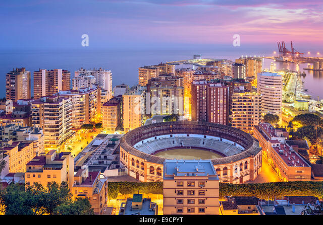 Malaga, Spanien Stadtbild am Mittelmeer. Stockbild