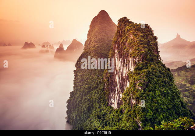 Karstberge von Xingping, China. Stockbild