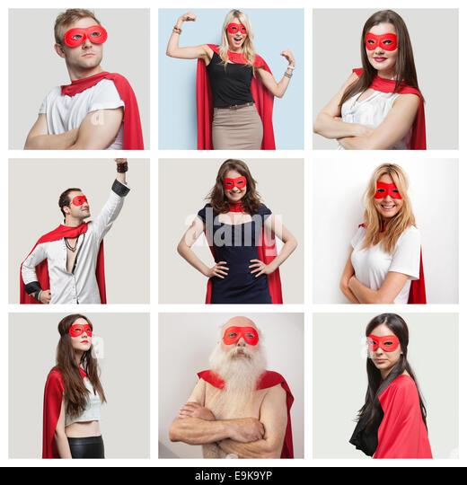 Collage aus überzeugt Menschen tragen Superheld Kostüme Stockbild