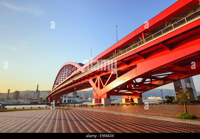 Hafen-Insel, Skyline von Kobe, Japan. Stockbild