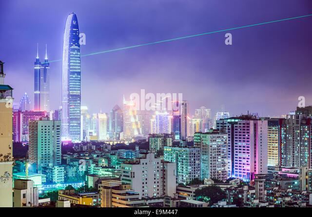 Shenzhen, China Stadt Skyline bei Nacht. Stockbild