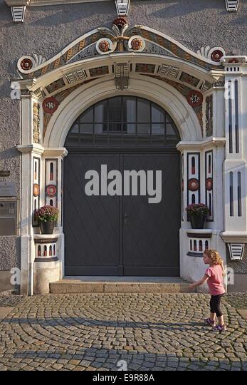 Portal Bruederstrasse in Görlitz, Deutschland Stockbild