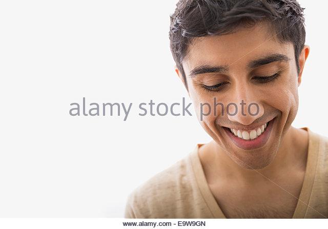 Porträt von lächelnder Mann blickte hautnah Stockbild