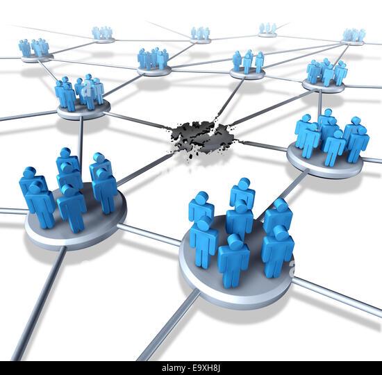 Team-Netzwerkprobleme als eine vernetzte Unternehmensgruppe der Menschen Symbole mit einem defekten Link und System Stockbild