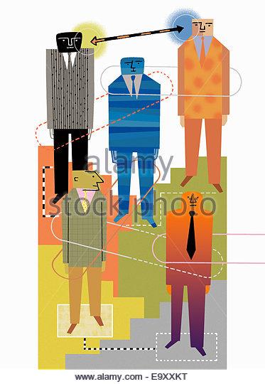Verbindungen zwischen Hierarchie der Geschäftsleute Stockbild