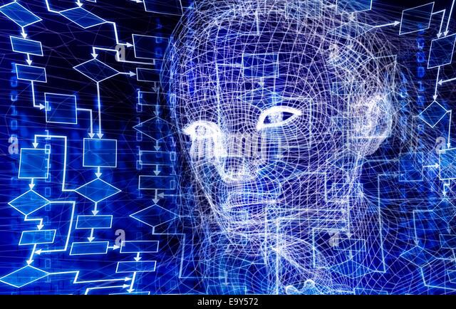 Frau digital Wireframe Gesicht konzeptionelle 3D Darstellung mit einem Flussdiagramm und Binär-Code auf dunkelblauem Stockbild
