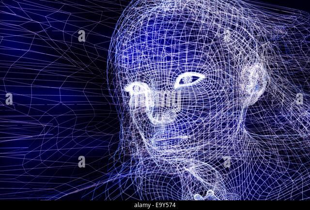 Frau digital Wireframe Gesicht konzeptionelle 3D Darstellung auf dunkelblauem Hintergrund Stockbild