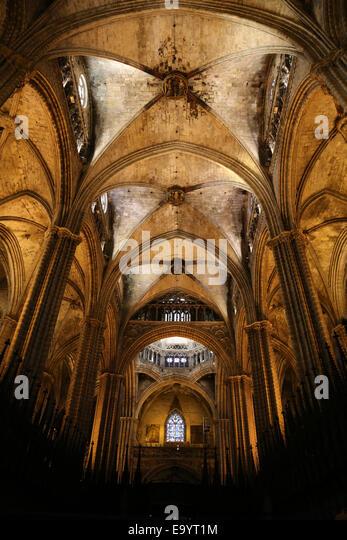 Spanien. Katalonien. Kathedrale von Barcelona. Im Inneren. Zentralen Kirchenschiff und Chorgestühl. 13. Jahrhundert. Stockbild