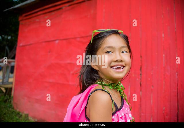 Porträt der jungen Asiatin, wegschauen Stockbild