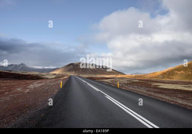 Leere Autobahn, Snaefellsnes Halbinsel, Island Stockbild