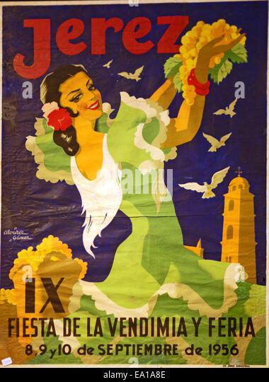 Jerez Festivalposter 1956 Stockbild