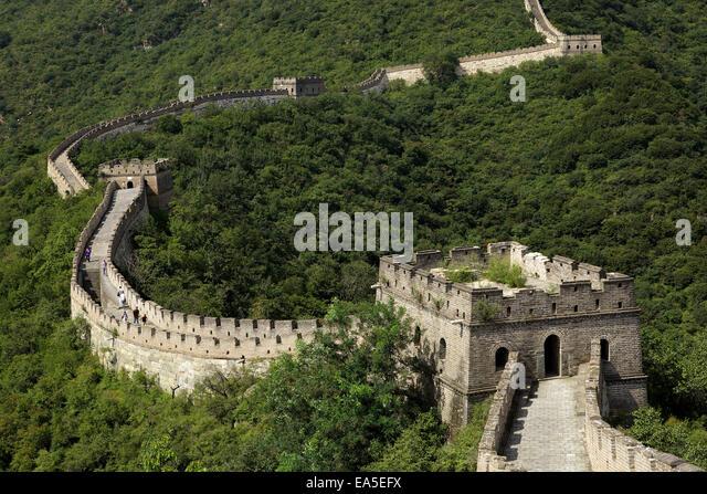 China, chinesische Mauer Stockbild