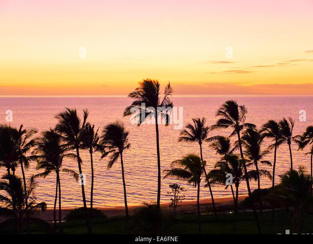 USA, Hawaii, Wailea Pastell Farben Sunset Stockbild