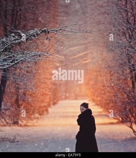 ein Spaziergang in einem verschneiten park Stockbild