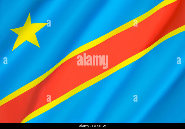 Flagge der Demokratischen Republik Kongo (Kongo-Kinshasa, DROC) Stockbild