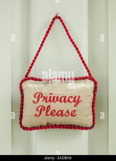 Datenschutz Bitte melden Sie sich an Tür Stockbild