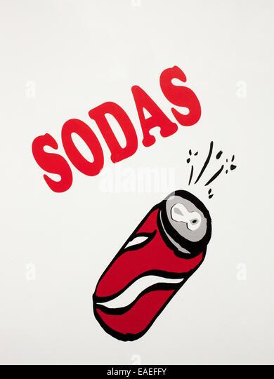 Hand bemalte Schild Werbung Soda für Verkauf Stockbild