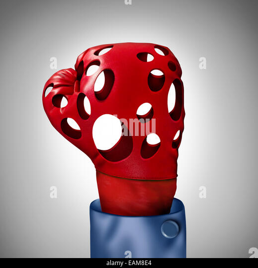 Wettbewerbsproblem und hohl verspricht Geschäftskonzept als rote Boxhandschuh mit leeren Löcher als Metapher Stockbild