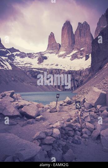 Retro-gefilterte Bild des Nationalparks Torres del Paine. Stockbild
