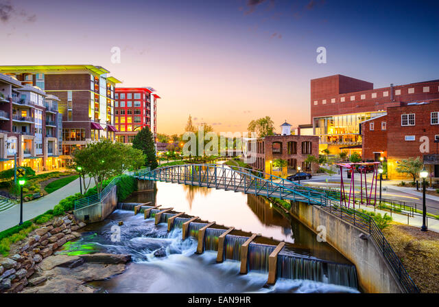 Greenville, South Carolina Stadt Stadtbild Stockbild