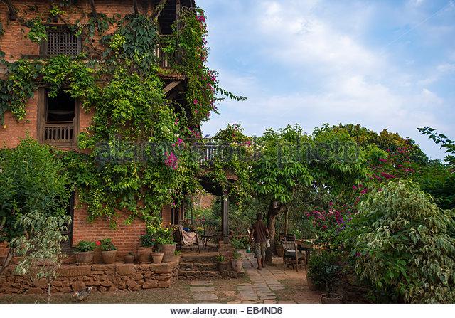 Einem historischen Newari Bauernhaus im traditionellen Dorf von Nuwakot in Nepal Stockbild