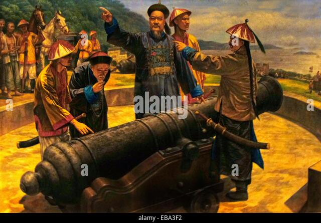 1800S 1840 19. Jahrhundert Asien Bogue Boops Boops Kanone China Küsten Farbe Bild Kommandeur Verteidigung Deng Stockbild