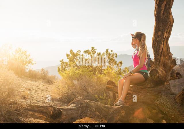 Frau macht Pause auf Berg, Joshua Tree Nationalpark, Kalifornien, USA Stockbild