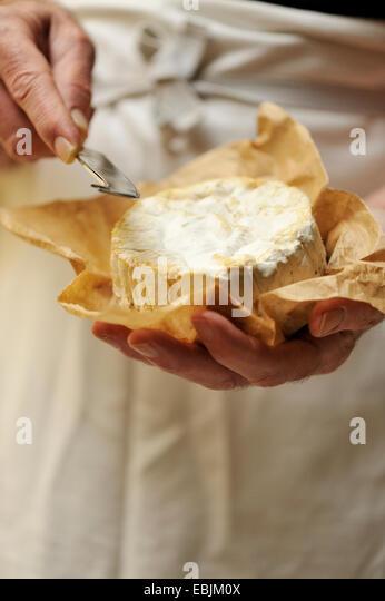 Mann mit Ziegenkäse und Käsemesser, konzentrieren sich auf Hände Stockbild