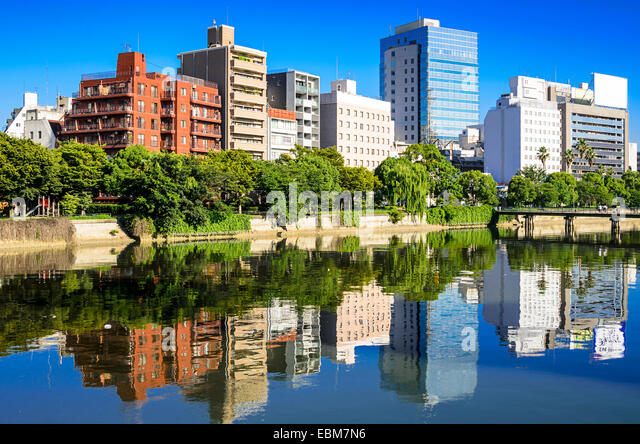 Hiroshima, Japan Stadtbild am Fluss Otagawa. Stockbild