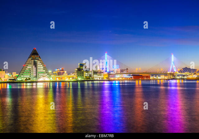 Aomori City, Präfektur Aomori, Japan Nacht Skyline. Stockbild