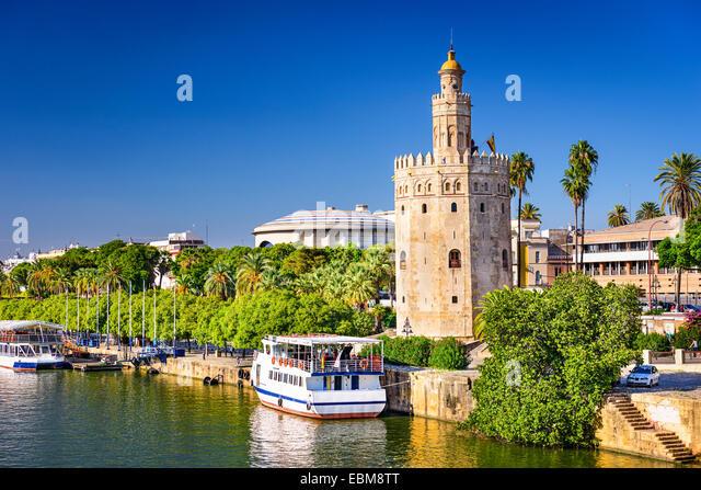 Torre del Oro in Sevilla, Spanien. Stockbild