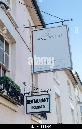 Melden Sie sich im Restaurant La Becasse in Shropshire-Stadt Ludlow Stockbild