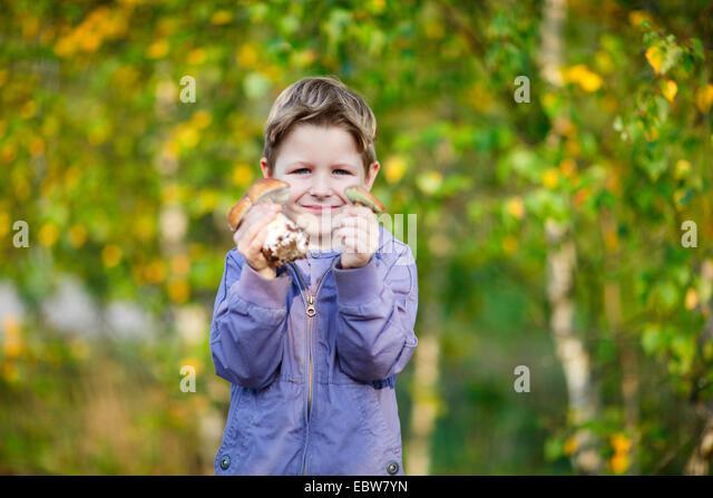 ein kleiner Junge zeigt zwei wilde Pilze Stockbild