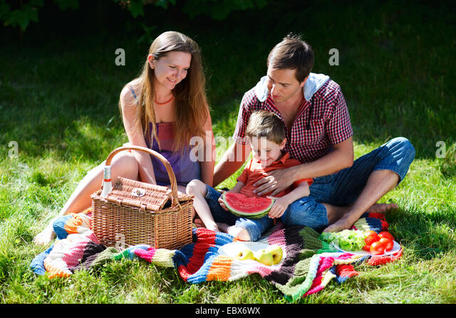 Junge Familie mit Picknick an sonnigen Sommertag Stockbild