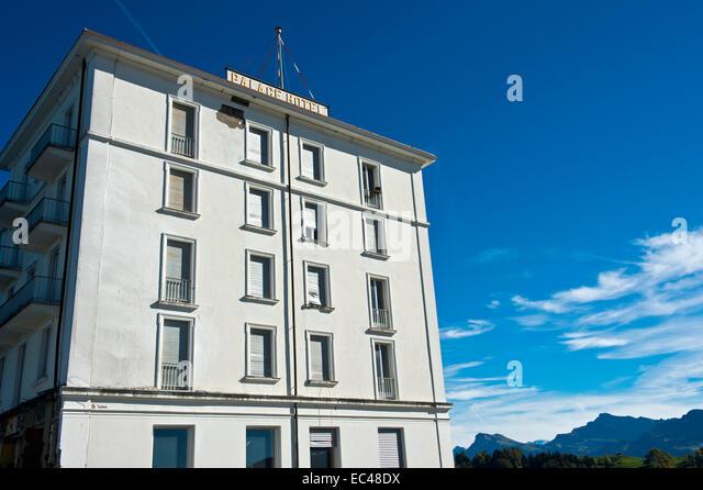 Das historische Palast-Hotel im Umbau, Bürgenstock Resort, Schweiz Stockbild