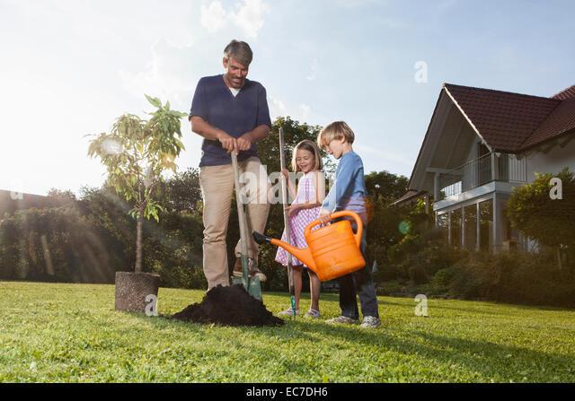 Vater und Kinder Baum im Garten Pflanzen Stockbild